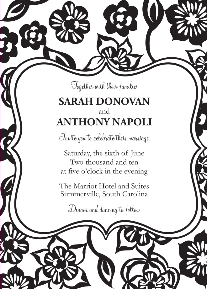 Sofia Invitations and Prints black and white invitation