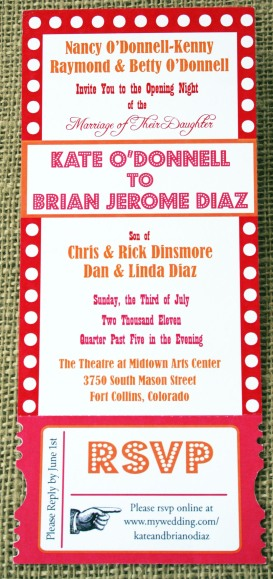 Kate O'Donnell Diaz wedding invitation