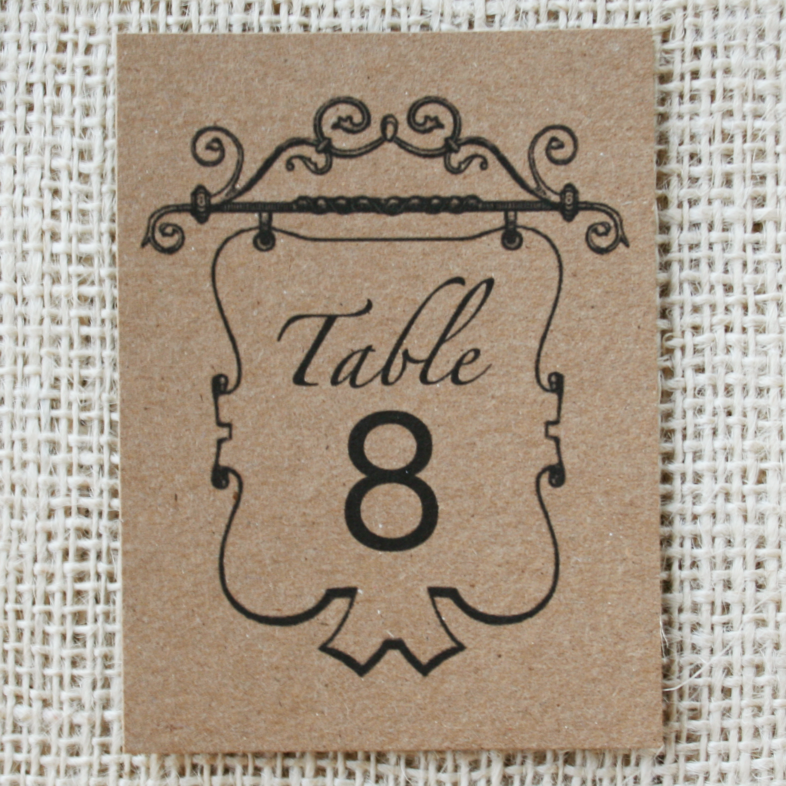 New item vintage table numbers recycled kraft paper for Table numbers