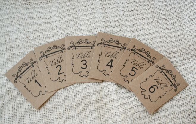 table numbers printed on kraft recycled paper