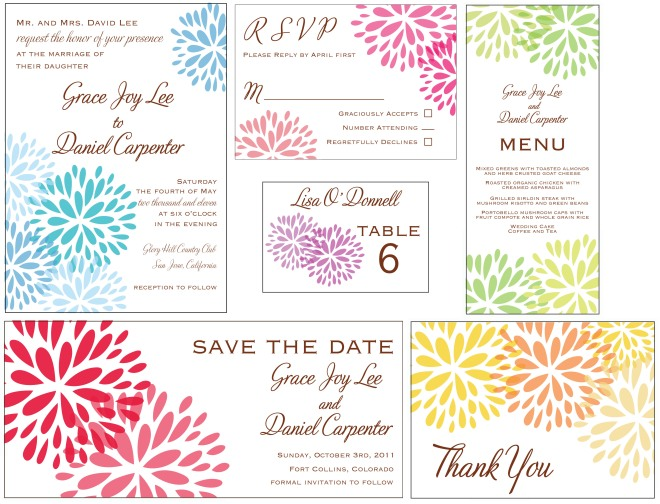 Modern Blossom invitation suite