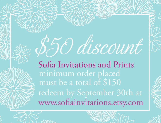 fifty buck discount for wedding invitations