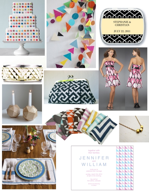 geometric wedding inspiration board by Sofia Invitations and Prints
