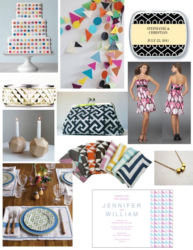 geometric wedding inspiration board by Sofia Invitations and Prints