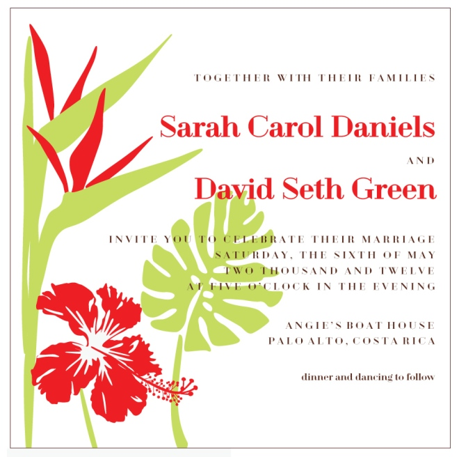 tropical invitation by Sofia Invitations and Prints