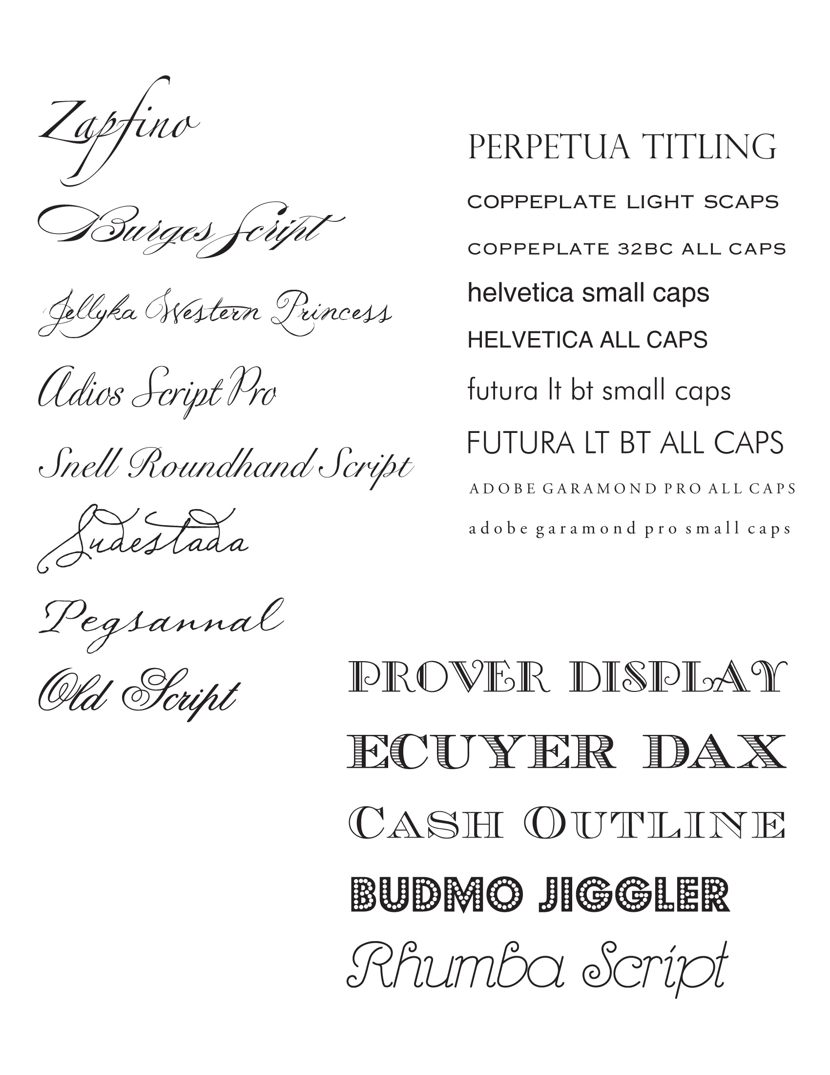 Font choices by sofia invitations and prints