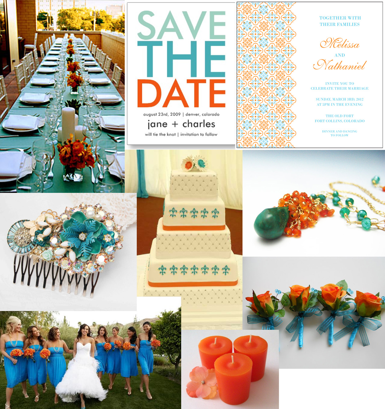 Orange and Aqua Wedding Cake http://sofiainvitationsblog.com/tag/orange/