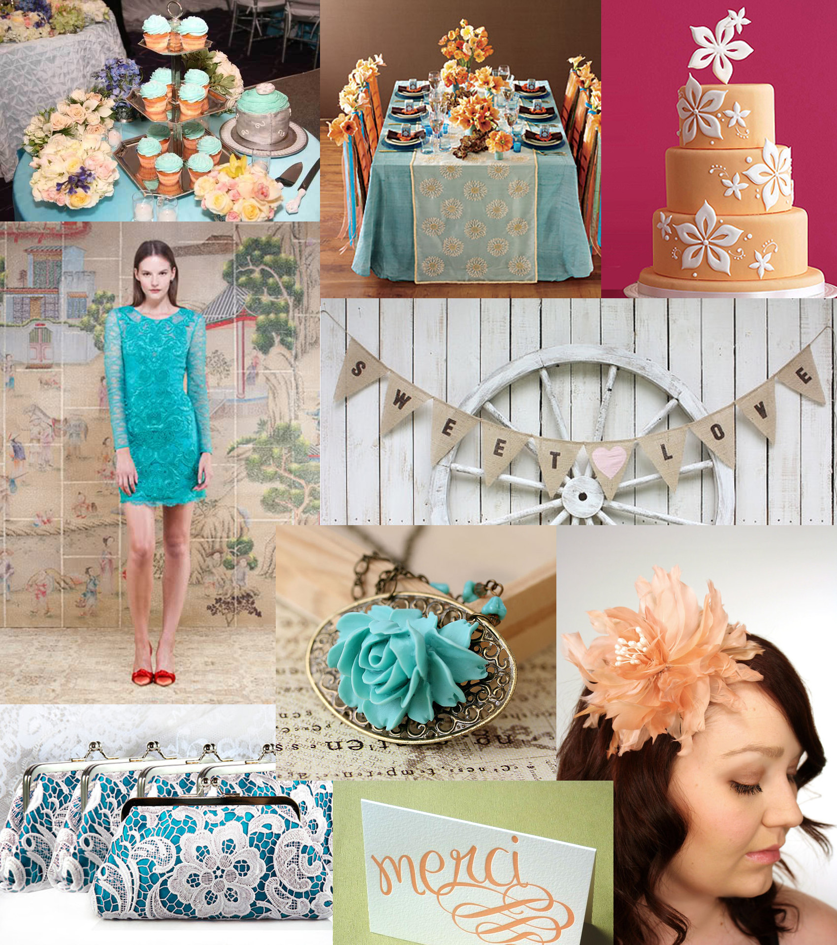 Turquoise And Peach Wedding Inspiration