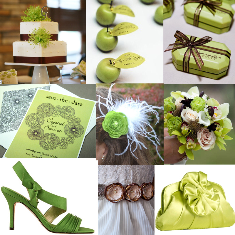 Check out this apple green and brown wedding inspiration board