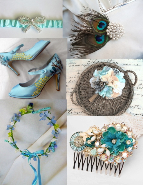 blue wedding items from Etsy shops