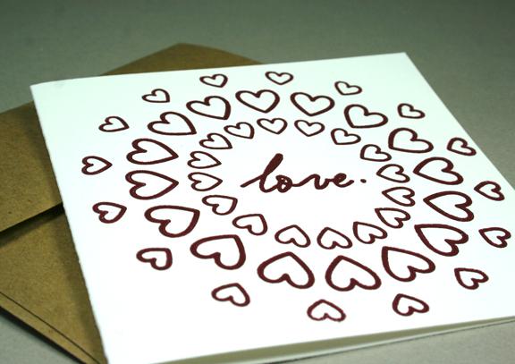 letterpress valentine's card