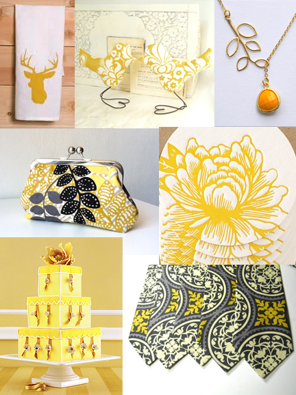 mustard yellow and grey inspiration board by Sofia Invitations and Prints