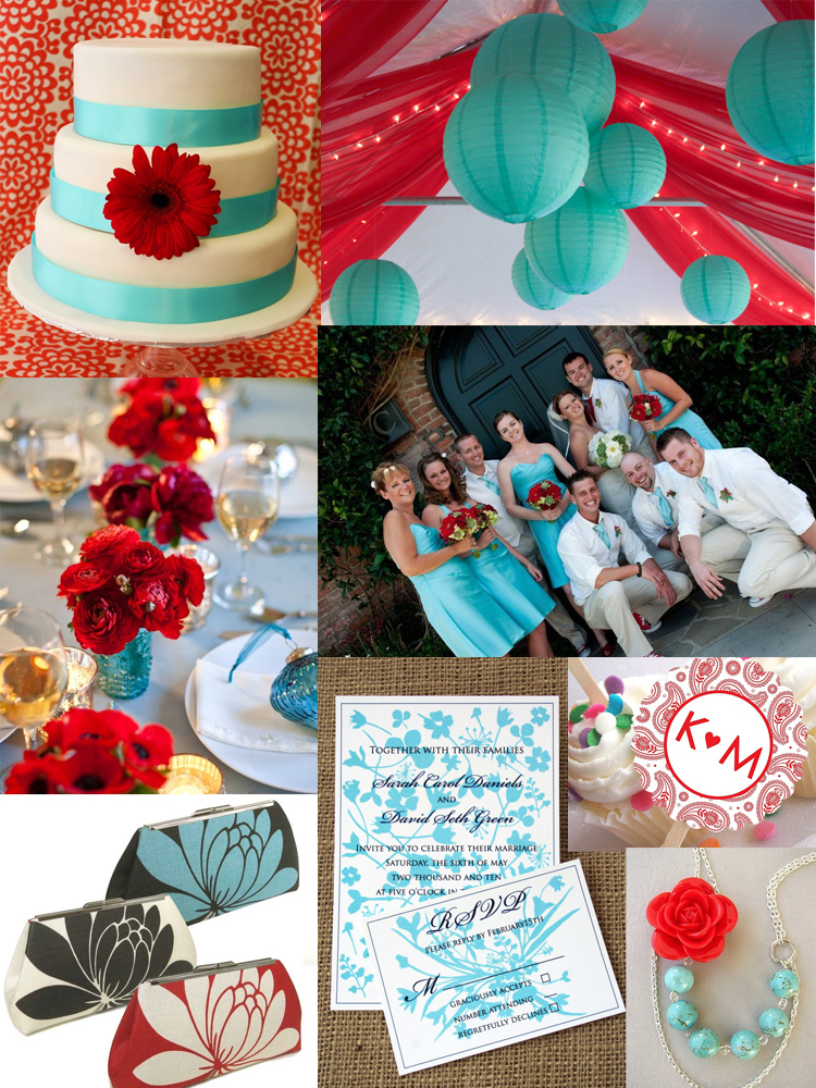 The color combination or turquoise and red for a wedding or party is modern