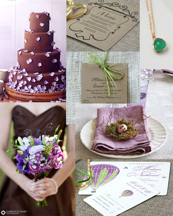 The colors brown purple and green create an elegant yet laid back