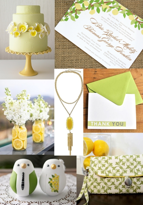 lemon yellow and green wedding colors