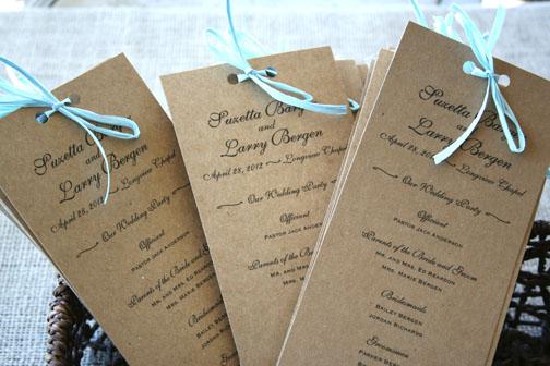 Rustic Recycled Wedding Programs
