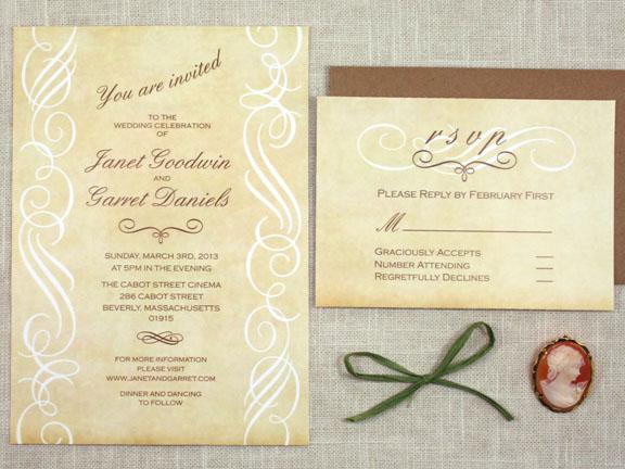 NOW Vintage Scroll Wedding Invitation Sofia Invitations Blog