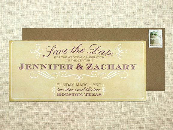 Vintage Save the Date Card: Long Announcement Size with Kraft ...