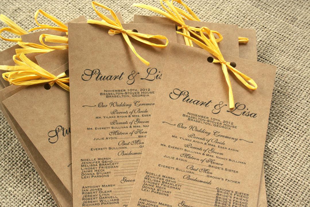 Rustic Kraft Paper Wedding Programs With Yellow Raffia Sofia Invitations Blog