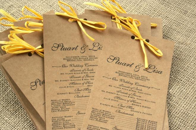Rustic Kraft Long Wedding Programs Sofia Invitations Blog