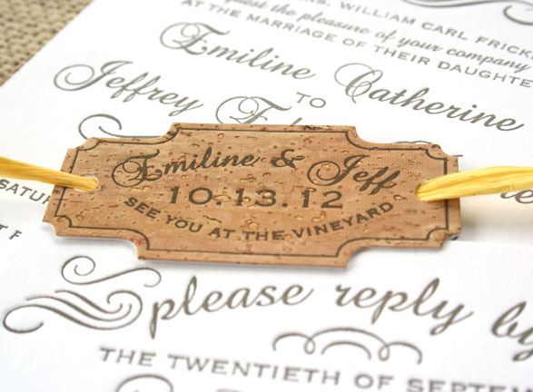 Flourish Vintage Letterpress Invitation With Cork Detail