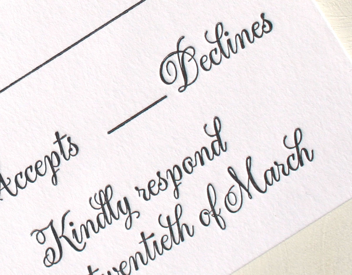 Modern And Classic Calligraphy Letterpress Wedding