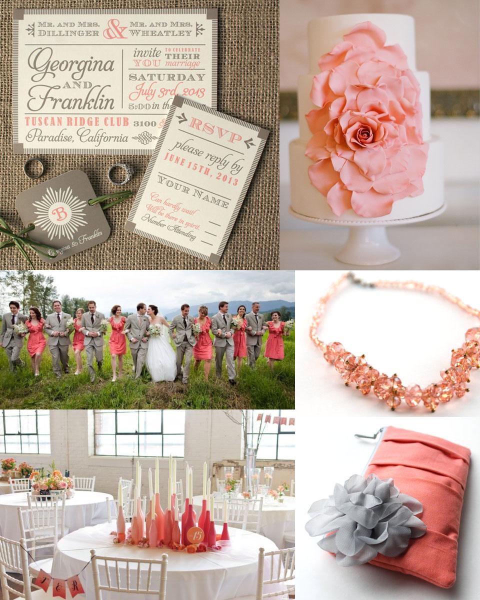pink_coral_grey_wedding vintage grey and pink coral - Coral And Grey Wedding Invitations