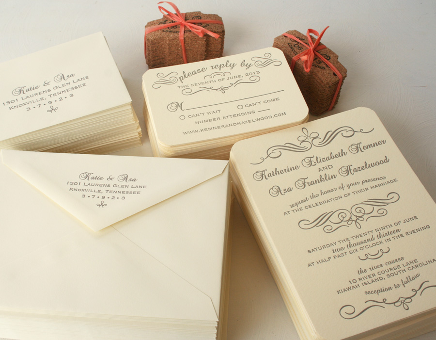 Calligraphy Letterpress Wedding Invitation Suite: Grey and Cream ...