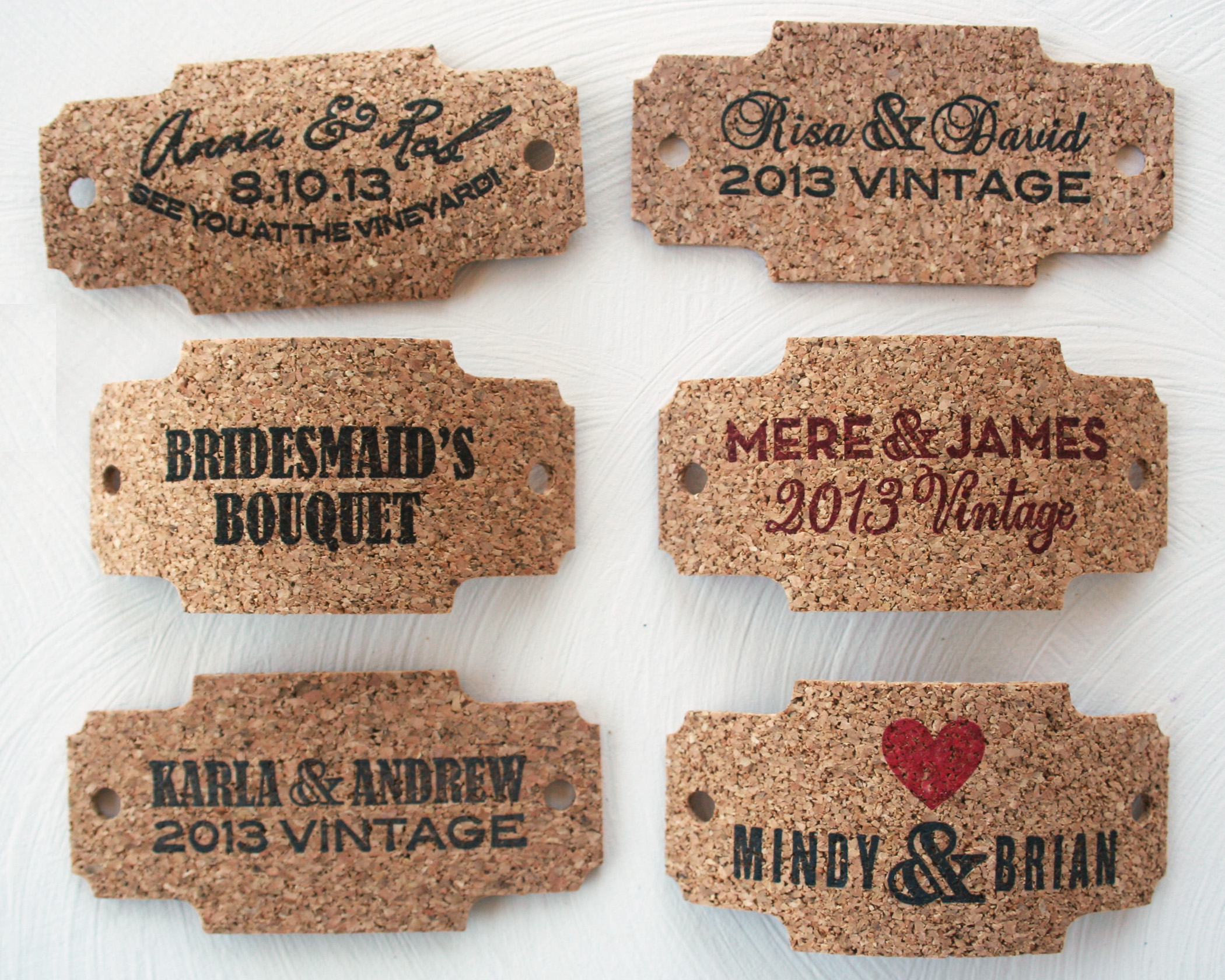 Rustic Cork Tags To Wrap Around Wedding Invitations Or Wine Bottles