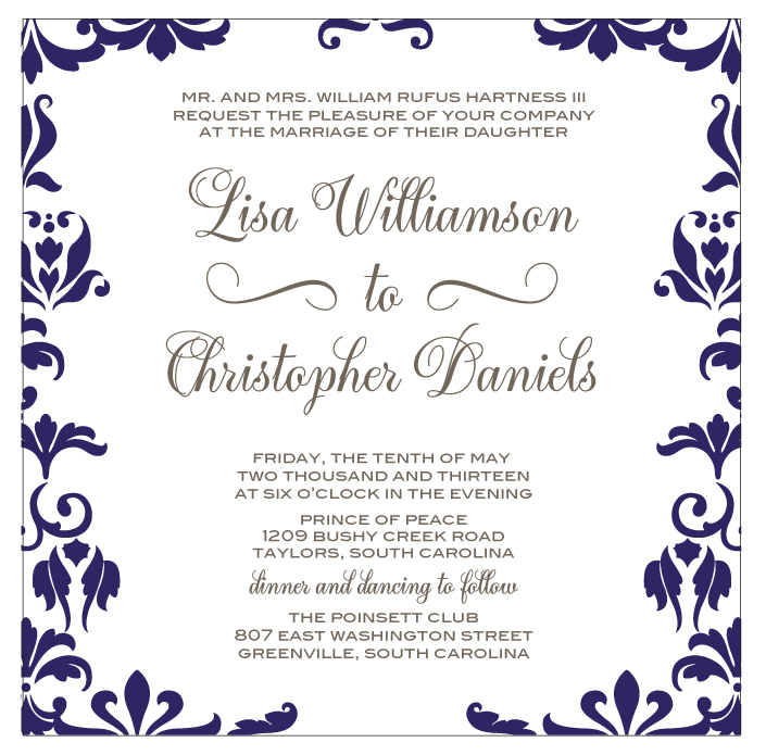 Damask Wedding Invitation Navy And Grey Calligraphy Font Sofia