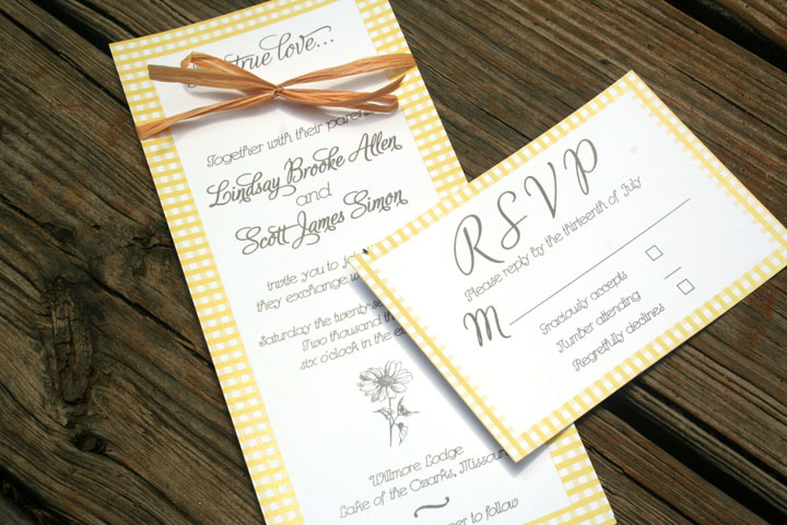 Country Gingham Wedding Invitation Rustic Yellow And Grey Sofia Invitations Blog