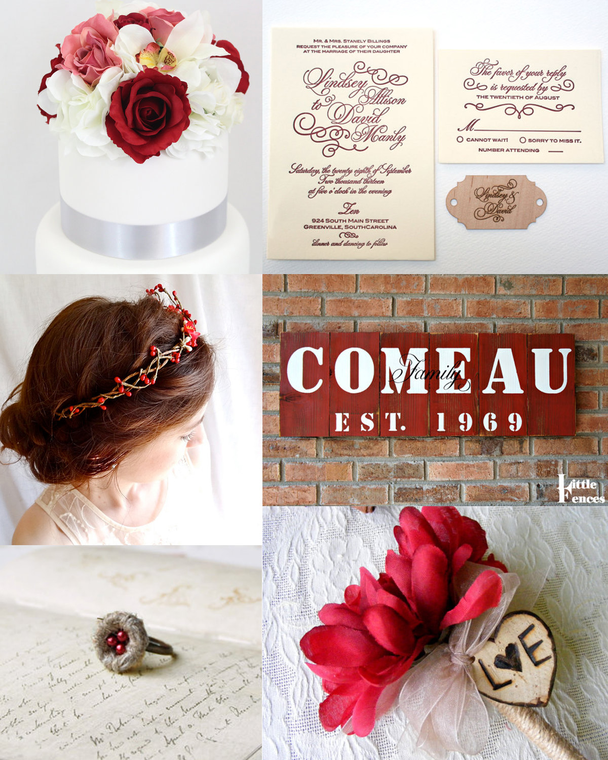 Garnet Red Rustic Wedding Inspiration: perfect for a fall wedding ...