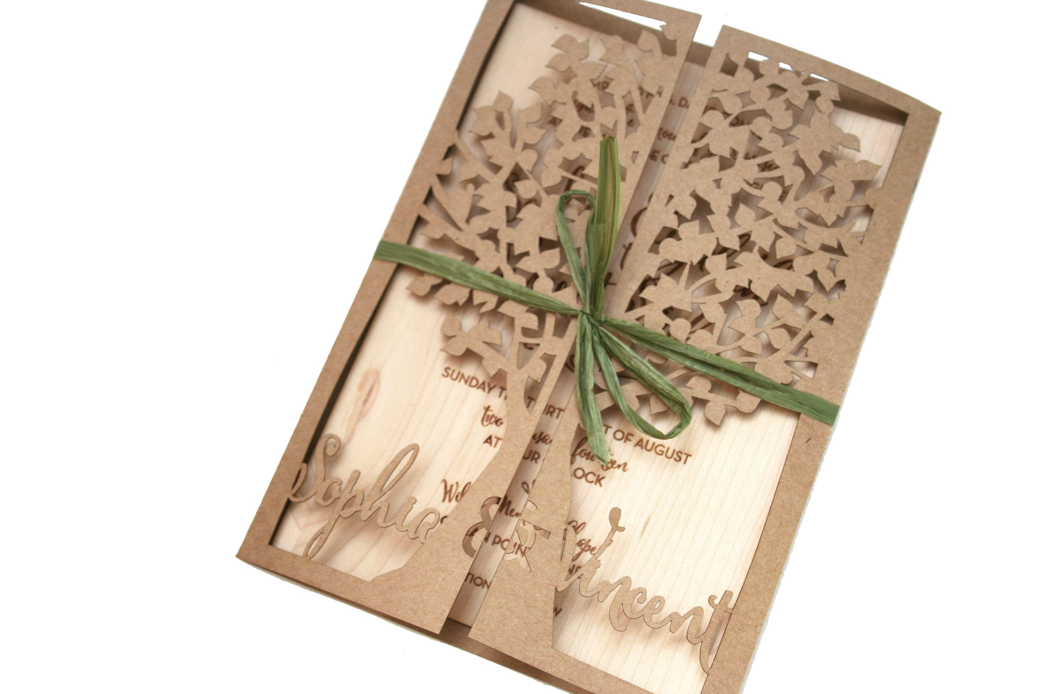 Laser Cut Tree Wedding Invitation with Wood Engraved Invite – sofia ...
