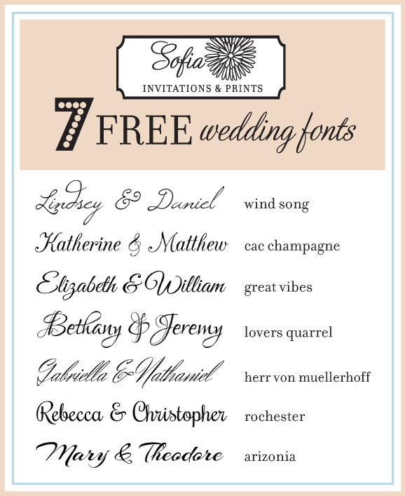 Rustic Wedding Invitation Fonts: Free Script Calligraphy Wedding Invitation Fonts